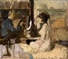 Bernard Dunstan (English, b. 1920) Model and Painter at Work.
