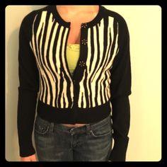 Lucky Brand NWOT zebra print wool cardigan size S Lucky Brand NWOT zebra print wool cardigan size S Lucky Brand Sweaters Cardigans
