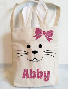 Personalized Easter bags,bunny ear bags,Easter egg basket,boy girl bag,Easter bunny tote,Easter rabbit bags,Easter treat bags,Canvas bags by ElainesCrafts on Etsy