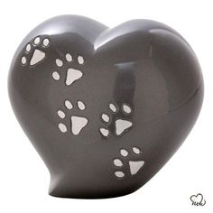 Heart Shaped Paw Inlaid Pet Cremation Urn in Grey Pet Cremation Urns, Cremation Ashes, Engraved Plates, Keepsake Urns, Pet Ashes, Memorial Urns, Pet Urns, Heart Shapes, Pets