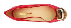 Red Cherry Reptil Flats with Animal Print Detail.  Visit us online www.facebook.com/froufroushoes