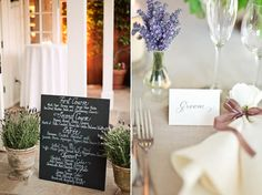 Use potted herbs for decor, along with chalkboards for a lovely combination