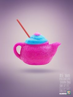Boot / Teapot / Bottle | On Bring Your Own Cup Day Colourful Slurpee Poster Campaign | Award-winning Direct Response/Press & Poster | D&AD