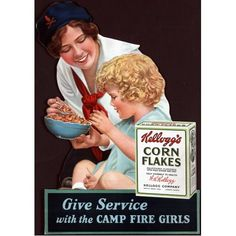 Vintage-Corn-Flakes-Camp-Fire-Girls-Promotional-Ad-Cereal-Poster-Reproduction