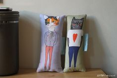 Pillow set Boyfriend Girlfriend $34.95USD by MsSpanner, based in Manchester, England, and selling on Etsy #cats