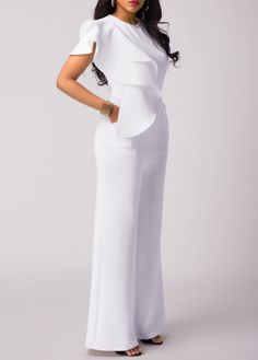 bd4c37a5069e White Round Neck Sleeveless Flouncing Pocket Jumpsuit on sale only US 32.06  now