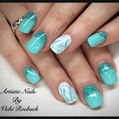 """28 Likes, 1 Comments - Artistic Nails Vicki Roebuck (@artisticnailspoole) on Instagram: """"@madam_glam in Caribbean Sea & glitter fade with @magpie_beauty Ariel #madamglam #gelmani #manicure…"""""""