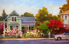 """""""Hipster House  LaConner , plein air oil painting by Robin Weiss"""" - Original Fine Art for Sale - © Robin Weiss"""