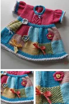 Knitting Pattern for Patchwork Baby Dress - Great stashbuster! This baby dress is designed to use up oddments of leftover yarn. The skirt is knitted in faux patchwork with a picot edging hem. Sizes 14″ chest for premature/Newborn, 16″ chest for newborn/3 months, 18″ for 3/6 month old babies and 20″ chest for 6/12 months old. scrap yarn