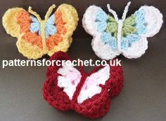 Butterfly Motif Free Crochet Pattern from Patterns for Crochet All Free Crochet, Knit Or Crochet, Crochet Motif, Crochet Crafts, Crochet Toys, Crochet Appliques, Crochet Butterfly Pattern, Crochet Birds, Crochet Flowers