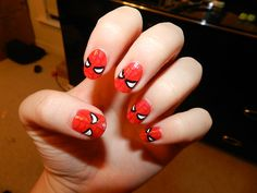 Spiderman, Spiderman, I'll use these nails to open a green bean CAN! See, it rhymes! Spiderman Nail Art