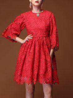 #AdoreWe StyleWe Midi Dresses - To my fair lady Pierced Lace Crew Neck Vintage 3/4 Sleeve Midi Dress - AdoreWe.com