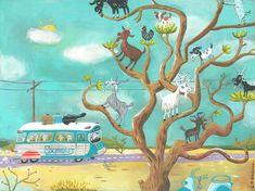 Alle aan boord voor de geit boom express. Een limited edition giclee print van een originele illustratie.