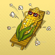 Buy Corn Tans on Beach Pop Art Vector Illustration by AlexanderPokusay on GraphicRiver. Corn tans on beach and turns into popcorn pop art retro vector illustration. Cute Cartoon Wallpapers, Animes Wallpapers, 365 Kawaii, Pop Art Food, Funny Doodles, Pop Art Wallpaper, Cute Puns, Grafiti, Funny Illustration