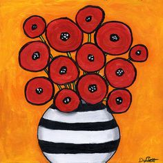 """Poppies, on Ebay   This was painted on a beechwood """"canvas""""with 3/4 inch sides. I thought I would try it out and it was quite nice to paint..."""