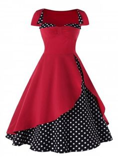 Polka Dot High Waisted Pin Up Dress Cheap fashion online retailer provides customers trendy and stylish clothing including different categories such as dresses, tops, swimwear. Pin Up Dresses, Cheap Dresses, Pretty Dresses, Beautiful Dresses, Dress Up, Girls Dresses, Dot Dress, Jacket Dress, Mode Outfits