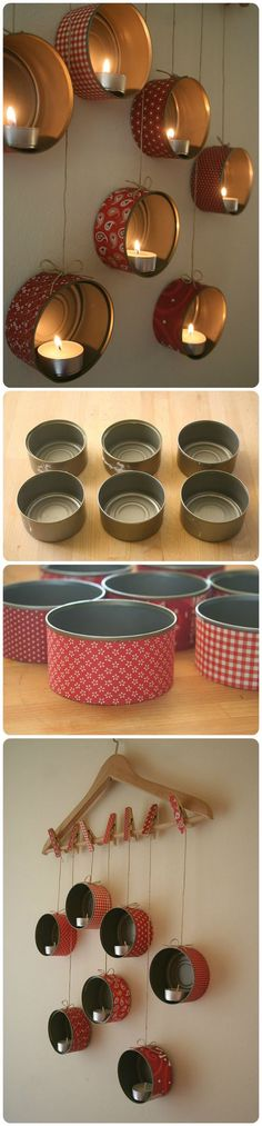 Look at this beautiful idea repurposing old tin cans into easy candle holders !: