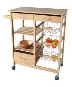 Another great find on #zulily! Bamboo Wood Three-Basket Kitchen Cart by JA Marketing #zulilyfinds