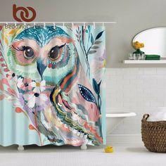 BeddingOutlet Acuarela Owl Animal Print Cortina de Ducha de Poliéster Cortina de Ducha Impermeable 180 cm x 180 cm Decoración Del Hogar Con Ganchos