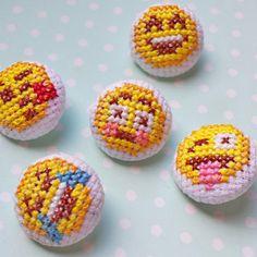 Emoji Face Buttons Cross Stitch Accessories by SundownStitcher