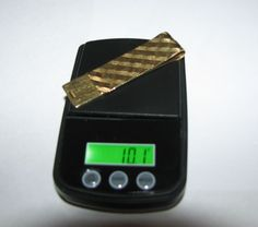 14K GOLD MONEY CLIP TESTED SIGNED GI MENS JEWELRY RAISED GRID DESIGN NICE  #UNKNOWN
