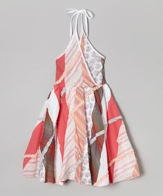 Look at this #zulilyfind! White Geometric Halter Dress - Infant, Toddler & Girls #zulilyfinds