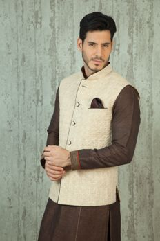 Linen jacket with quilting design on fabric. Item number M16-21 #Benzerworld #Benzer #Weddingdressformen