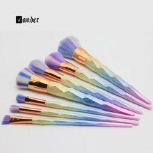 Colorful Cosmetic  Makeup Brush Set 7Pcs High Quality  Spiral Pattern Makeup Foundation Powder Blush Eyeliner Brushes Tools (China (Mainland))