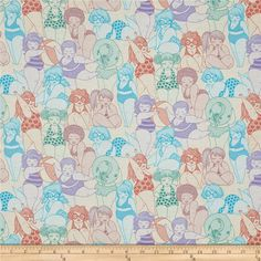 Designed by the De Leon Design Group for Alexander Henry, this cotton print fabric features women soaking up the summer sun on the beach! Perfect for quilting, apparel and home decor accents. Colors include cream, shades of blue and green, peach, coral, lilac and lavender.