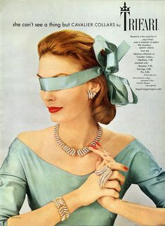 theniftyfifties:  Trifari jewellery advertisement, 1957