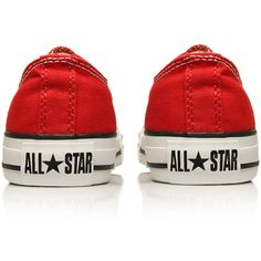 Converse Red Chuck Taylor All Star Low Trainers (€53) ❤ liked on Polyvore featuring shoes, sneakers, converse, star shoes, lace up sneakers, canvas lace up sneakers, canvas low-top sneakers and canvas lace up shoes