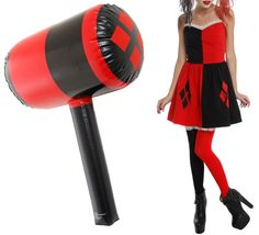 This Harley Quinn Costume Dress And Inflatable Mallet Are A Perfect Combination