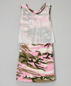Look what I found on #zulily! Army Pink Camo Mesh-Overlay Sleeveless Dress - Girls #zulilyfinds