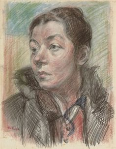 David Burliuk - drawing, Portrait of Marusia, the pictures of his wife appear frequently but in this drawing, you can see the love.