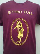 JETHRO TULL LIVING IN THE PAST MENS BURGUNDY PROG ROCK  MUSIC T SHIRT