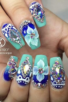 Royal blue turquoise rhinestone nails nailart design @nails_by_verovargas