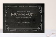 Foxtrot Frame Foil-Pressed Wedding Invitations by Olivia Kanaley at minted.com