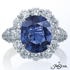 Sapphire and Diamond Duchess Ring (jckmarketplace)  Classic platinum ring features a 7.18 cts. sapphire that is surrounded with 3.06 cts. t.w. round-cut diamonds.     SKU4506-002BrandJB Star MSRPCall for details