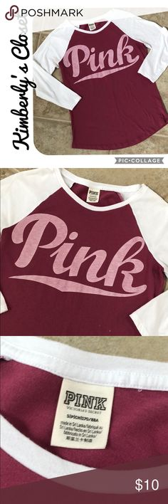 🌸🌼PINK🌼🌸 Baseball Tee PINK baseball style tee.  3/4 length sleeves.  Size small - fits true to size.  Some small faded splash spots on front (see photos).  Otherwise in good condition, only worn a couple of times. PINK Tops