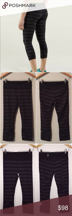 Lululemon micro macro run inspire crops Lululemon rare micro macro run inspire crops, size 4, excellent condition with no flaws or signs of wear. Made of luxtreme fabric that is cool to the touch/moisture wicking/with four way stretch, added Lycra fibre moves with you and stays in great shape, signature three pocket waistband, strategically placed ventilation, continuous draw cord at waist lets you adjust the fit, crop length, medium rise, tight second skin fit. Bundle to save 10% off 💕…