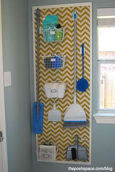 """Organize brooms and mops in the laundry room with a peg board. Love the painted chevron painted over the pegboard along with the """"frame"""". Way to class up boring pegboard! Organisation Hacks, Organizing Tips, Organize Cleaning Supplies, Organising, Organize Room, Diy Casa, Ideas Para Organizar, Laundry Room Organization, Diy Organization"""
