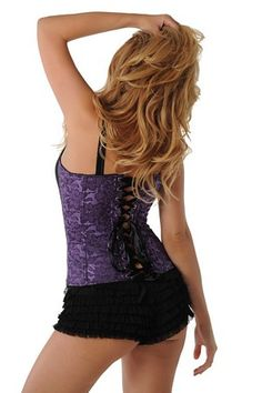 Purple Passions Corset 3178 Velvet Kitten  Purple brocade corset features black lycra front panels, zip front closure for easy dressing, ribbon lace up back closure and matching G-string.