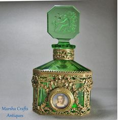 Hoffman Green Czech Perfume Bottle with Bronze & Portrait from marshacraftsantiques on Ruby Lane