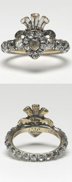 *Ring, English, 1736. Gold, silver, diamonds, enamel, hair   Acquirer: Queen Mary, consort of King George V, King of the United Kingdom (1867-1953), when Queen Consort (1910-36) Provenance:  Presented to Sir John Chardin by Frederick, Prince of Wales; bequeathed to Sir Philip Musgrave; given to Queen Mary by Lord and Lady Cromer on her birthday, 26 May 1934