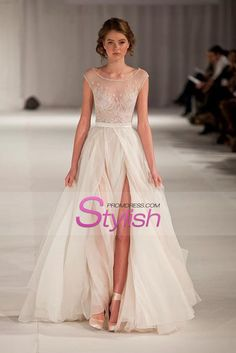 2015 Sexy Prom/Wedding Dresses With High Slit A-Line Scoop Ivory Sweep/Brush Train Chiffon With Embroidery