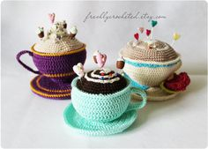 Cup Pincushion tea cup coffee cup craft supply by freshlycrocheted, €5.00