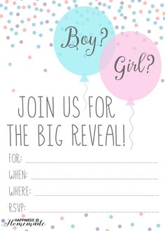 Baby Gender Reveal Party Ideas & FREE Printable Invitation! - Happiness is Homemade #genderreveal #balloontime #ad