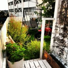 green garden swing bike fence