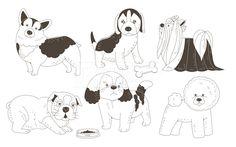 SPAI148, 프리진, 일러스트, SPAI148a, 동물, 에프지아이, 라인, 강아지, 개, 반려동물, 애완동물, 웰시코기, 비글…