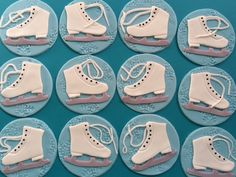 12 ice skating favors ice skate edible fondant cupcake toppers decorations snowflakes embossed winter frozen  inspired skating